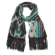 Impulse Women's Aztec Neon Tassel Scarf - Blue