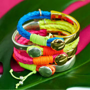 Bibi Neon Woven Bangle - Gold/Pink