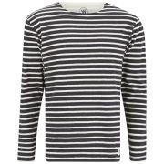 Wood Wood Men's Long Sleeved Mix Stripe T-Shirt - Navy