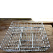 Nkuku Wire Cutlery Tray - Distressed White - 5 x 36 x 28cm