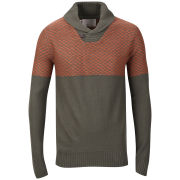 Brave Soul Men's Saber Shawl Neck Jumper - Green