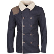 Tokyo Laundry Men's Varkens Sherpa Lined Double Breasted Jacket - Navy Marl