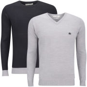Brave Soul Men's Block Hem 2 Pack Knitwear - Black & Mid Grey Marl