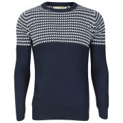 Brave Soul Men's Edward Jacquard Knitted Jumper - Navy