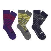 French Connection Men's Butch Multi Stripe 3 Pack Socks - Multi