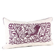 Malini Embroidered Bird On Faux Linen Cushion