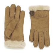 UGG Australia Women's Classic Bailey Button Shearling Gloves - Chestnut