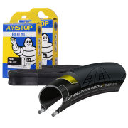 Continental GP4000S II Clincher Road Tyre Twin Pack with 2 Free Inner Tubes - Black - 700c x 25mm