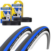 Schwalbe Lugano Clincher Road Tyre Twin Pack with 2 Free Tubes - Blue 700c x 23mm