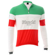 Bianchi Men's Hiten Woollen Long Sleeve 1/4 Zip Jersey - Celeste/White/Red