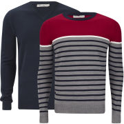 Brave Soul Men's Marc 2-Pack Knitted Jumpers - Mid Grey Marl/Dark Navy/Ecru/Pillar Box Red