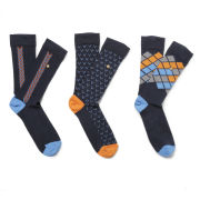 William Hunt Men's Chevron Check 3 Pack Sock Gift Set - Black/Multi