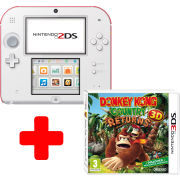 Nintendo 2DS White & Red Console: Bundle includes Donkey Kong Country Returns