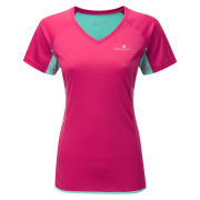 RonHill Women's Aspiration Short Sleeve Running T-Shirt Cerise/Aquamarine