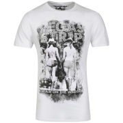 Ringspun Men's Photo Print Strip T-Shirt - White/Blue