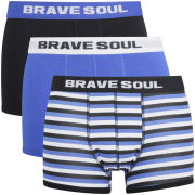 Brave Soul Mens 3-Pack Boxers - Blue/Black/Stripe
