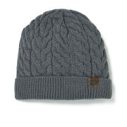 Animal Men's Bear Knitted Fur Lined Beanie - Pewter
