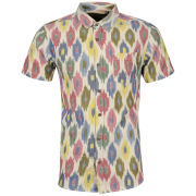 Brave Soul Men's Florentine Printed Short Sleeve Shirt - Ecru/Pink/Yellow/Green