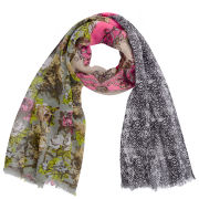Codello Women's Winter Wonderland Roses, Snake and Heraldic Patch Scarf - Multi