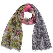 Codello Women's Winter Wonderland Roses, Snake and Heraldic Patch Scarf - Multi
