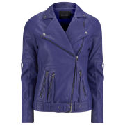 Gestuz Women's Leather Jacket - Blue