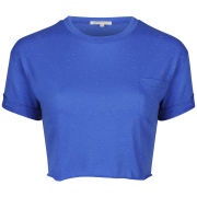 Glamorous Women's Crop Turn Cuff T-Shirt With Pocket - Cobalt