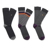 William Hunt Men's Zig Zags 3 Pack Sock Gift Set - Black/Multi