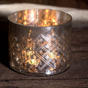 Nkuku Small Etched Glass T-Light Holder - Rustic Silver