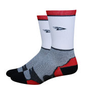 DeFeet Levitator Lite Tall 5 Inch Socks - White with Red Stripes