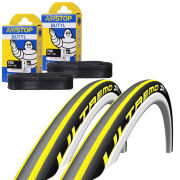 Schwalbe Ultremo ZX  Clincher Road Tyre Twin Pack with 2 Free Inner Tubes - Yellow Stripes 700c x 23mm