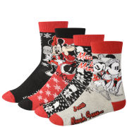 Minnie Mouse Women's 4-Pack Socks Gift Box - Red and Black