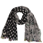 Codello Women's Winter Wonderland Tiger/Dots Jacquard Scarf - Light Grey/Black