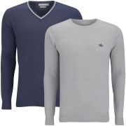 Brave Soul Men's Tipping 2 Pack Knitwear - Azure Blue & Natural Mix