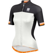 Sportful Bodyfit Pro Womens Full Zip Jersey - White/Orange