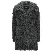 Unreal Fur Women's De-Fur Fluffy Jersey Lined Faux Fur Coat - Charcoal