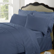 Highams 100% Egyptian Cotton Plain Dyed Fitted Sheet - Steel Blue
