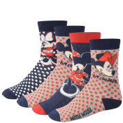 Minnie & Mickey Mouse Women's 4-Pack Socks Gift Box - Red and Navy