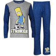 The Simpsons Boys' Striker Pyjama Set - Grey Marl/Blue