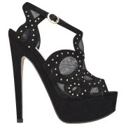 Miss KG Women's Girl Studded Suedette Platform Heels - Black