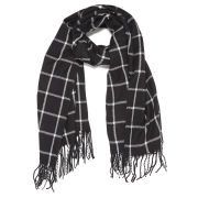 Vero Moda Women's Large Grid Long Scarf - Black