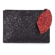 Lulu Guinness Glitter Cut Out Heart Pouch - Black