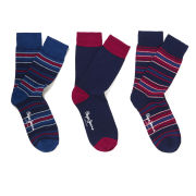 Pepe Jeans Men's Mason 3 Pack Socks - Vespertime/Petrol/Cardinal Red