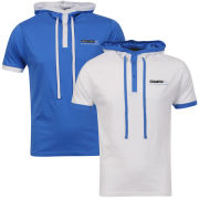 Brave Soul Men's Hooded 2-Pack T-Shirt - White/Blue