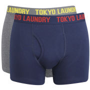 Tokyo Laundry Men's Tahoe 2 Pack Boxers - Dark Grey Marl/Midnight Blue