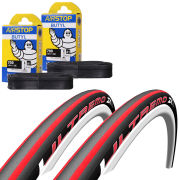 Schwalbe Ultremo ZX Clincher Road Tyre Twin Pack with 2 Free Tubes - Black/White 700c x 23mm