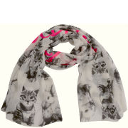 Codello Women's Happy World Cute Animals Scarf - Off White