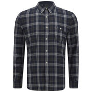 French Connection Men's Multi Check Shirt - Marine Blue/Charcoal Marl/Light Grey