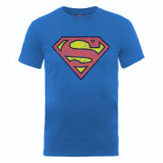 DC Comics Men's T-Shirt - Superman Shield Crackle - Royal Blue