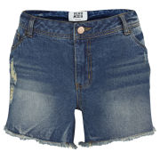 Vero Moda Women's Paula Cut Off Denim Shorts - Mid Wash