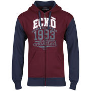 Ecko Men's Time Contrast Sleeve Hooded Sweatshirt - Red/Navy